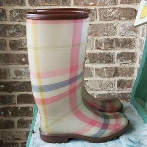 Burberry Rare Pink Nova Check Rain Boots